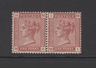 """Pair of GB QV 1d Venetian Red SG166 One Penny """"MH/MI"""" Mint Hinged 1880 Stamps"""