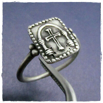 ** CROSS into a TEMPLE** ancient Silver BYZANTINE or late ROMAN RING !