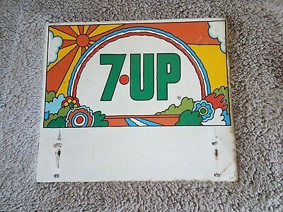 Vintage Peter Max style 7 Up Two Sided Sign bright soda advertising sturdy