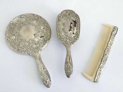 Vintage Silver Plated Vanity Mirror, Brush & Comb Dressing Table Set