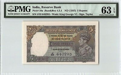India ND (1937) P-18a PMG Choice UNC 63 EPQ 5 Rupees
