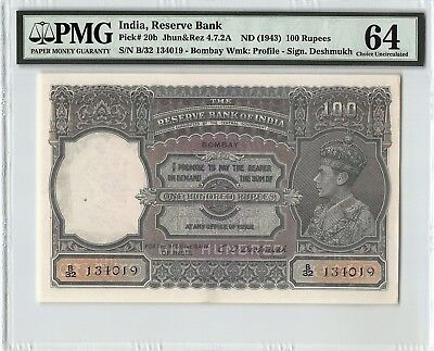 India ND (1943) P-20b PMG Choice UNC 64 100 Rupees (Bombay Circle)