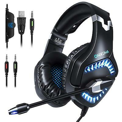 Gaming Headset ONIKUMA Noise Reduction Mic Stereo Surround PS4 Xbox One LED