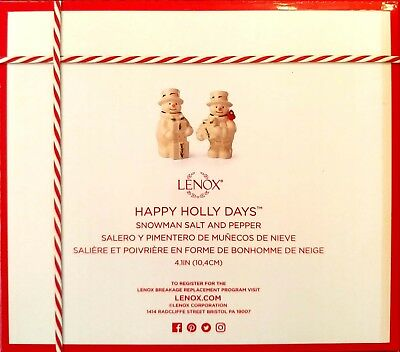 Lenox Snowman Salt and Pepper Shakers Happy Holly Days New in Box Porcelain Set