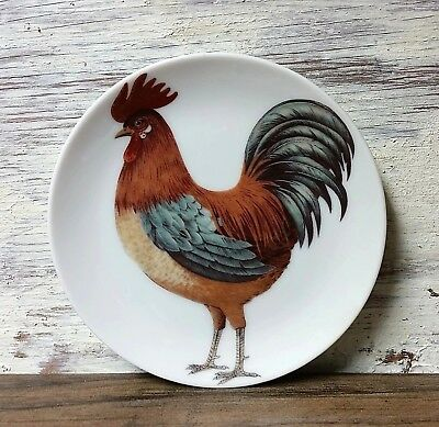 "Vintage 4"" Rooster Small Plate White Oak Porcelain Country Kitchen Decoration"