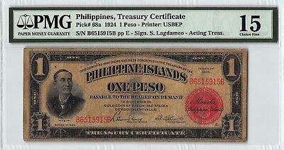 Philippines 1924 P-68a PMG Choice Fine 15 1 Peso
