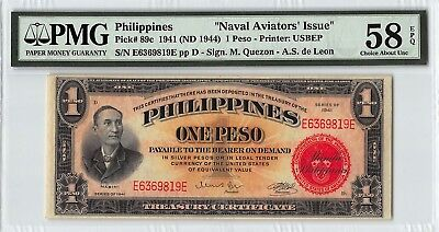 Philippines 1941 (ND 1944) P-89c PMG Choice About UNC 58 EPQ 1 Peso
