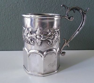 Antique Spanish Colonial Hand Wrought Silver Mug