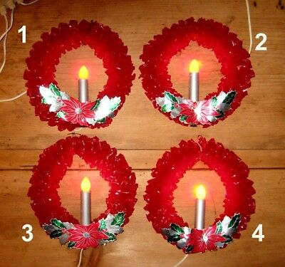 4 Vintage Red Cellophane Lighted Candle Christmas Wreaths