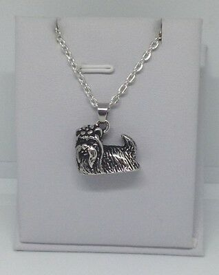3D, YORKIE, Yorkshire Terrier, Silky, DOG Charm, Pendant & .925 Necklace - R737