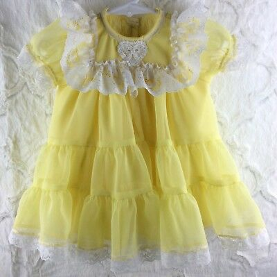 Vintage Style Girls 6 Month Lemon Yellow Sheer White Lace Infant Dress