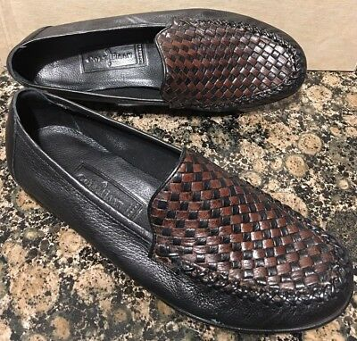 a85d3ed7760 COLE HAAN Black   Brown Leather Woven Loafers Slip on Flats Shoes Sz 7 1