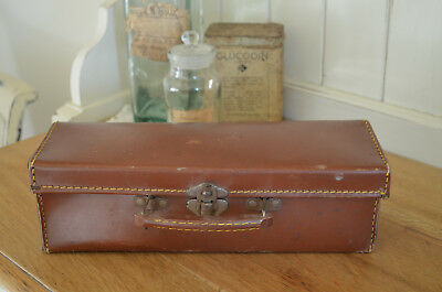 """RARE Small 50s Vintage Suitcase Paper Lined 21"""" x 14""""  - Wedding Prop Storage?"""