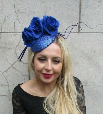 Royal Blue Sequin Rose Statement Flower Feather Hat Fascinator Races Ascot 6861