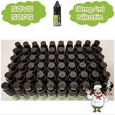 60 x 10ml Premium Nikotin Shot 18 mg/ml 50VG/50PG Base für e-Liquid NicShot