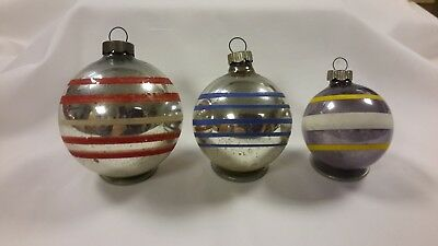 VINTAGE SHINY BRITE CHRISTMAS ORNAMENTS LOT of 3 BALLS w/PAINTED STRIPES