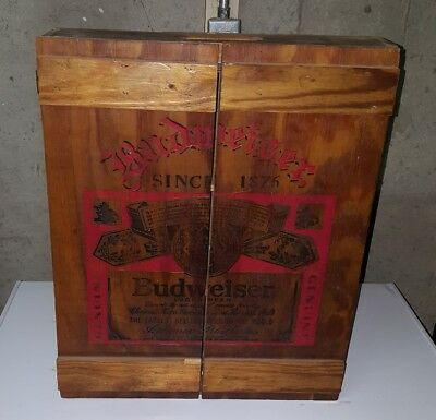 Vintage Budweiser Two Door Wood Shadow Box Display Cabinet Beer Crate Style