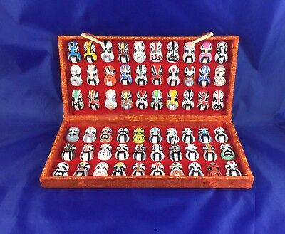 (60) Vintage Chinese Beijing Opera Face Masks Silk Box handpainted clay costumes