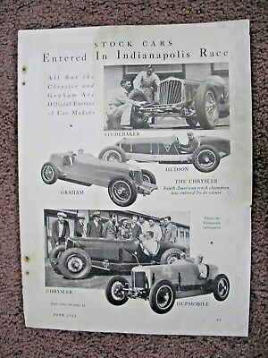 1932 stock cars entered in Indianapolis race large full page ad