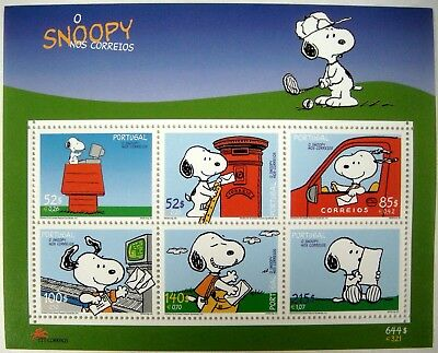 Snoopy Stamps Sheet Of 6 From Portugal Peanuts Woodstock Charles Schulz