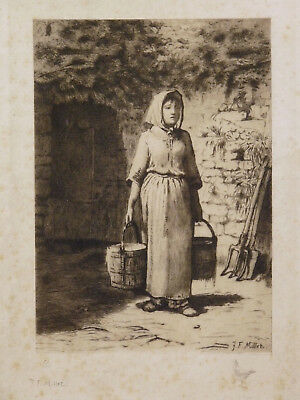 Jean François MILLET (1814-1875) Old etching and note 54/100 Bites