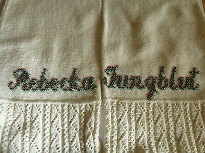 Antique Pair Germany Stocking Socks Victorian Ladies Women beaded names