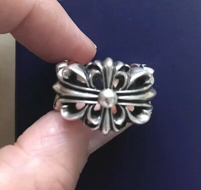 9b8de371162 CHROME HEARTS DOUBLE Floral Cross Ring Silver Size 7.5 (US Sizing ...