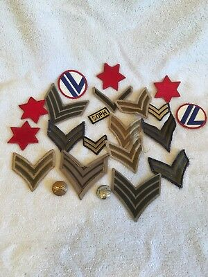 Lot Of 20 Vintage Military Patches & 2 Pin Back Buttons NR