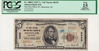 $5 1929 T2 First National MONTCLAIR New Jersey NJ Slabbed PCGS Graded Fine 15