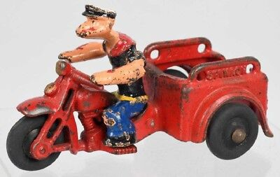Vintage 1929 Hubley - Popeye Spinach Delivery Motorcycle - Cast Iron