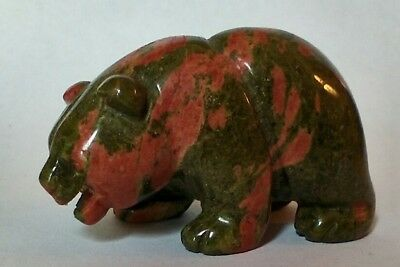 Multi Colored Jade Stone Carving, Figurine Of Bear Animal Asian