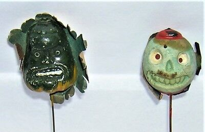 VINTAGE 1920's Germany HALLOWEEN Composition Spooky MONSTER, SKULL STICK PIN