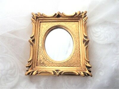 Ornate Gold Vintage Florentine Frame Wall Mirror Small Italy 3 3/4 x 4 3/16 Inch