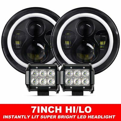 """Pair 7inch LED Headlights Projector Lens DRL Halo For GQ PATROL + 4"""" Flood Pods"""