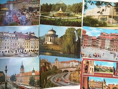 Lot 14 Warsaw Poland Postcards Buildings Town Streets Statues Fountains Cars