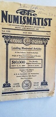 1909 The Numismatist Catalogue Coins Money