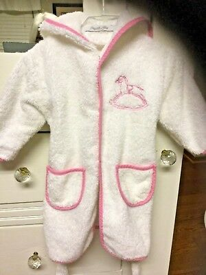 Peacock Alley Baby Girl Hooded Bathrobe Robe White Pink Terry 12 18 Months