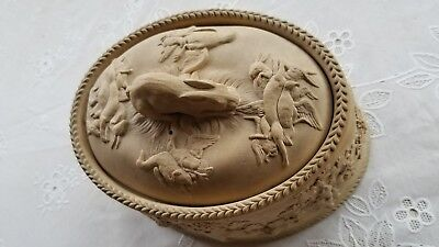 Rare Antique1800's Wedgwood Caneware Hare Finial Game Pie Dish CoveredTureen