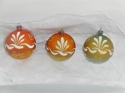 3 Gorgeous Vintage Hand Painted Glass Christmas Ornaments-Italy