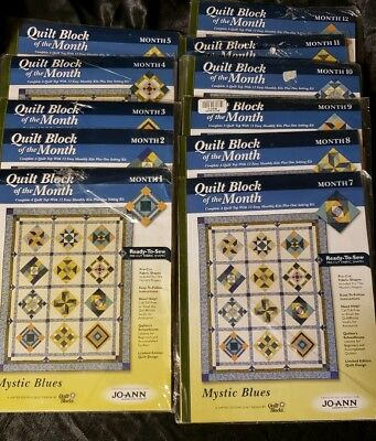 Joann Fabrics 11 Limited Edition Quilt Block of the Month Kits 2005 Mystic Blues