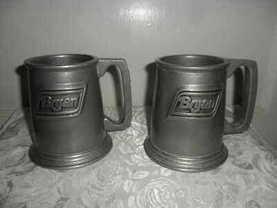 """Vintage BRYAN RWP Pewter Beer Mugs - Pair of Two - 4.5"""" Tall & Heavy Made USA"""