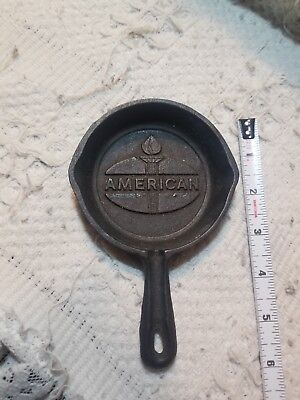 amoco american oil gas cast iron fry pan ashtray can station