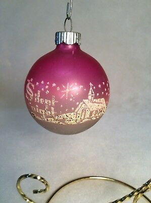 Vintage SHINY BRITE Unsilvered SILENT NIGHT Christmas Ornament Pink/Blue Mica