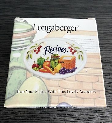 Retired Longaberger Recipes Tie On - Mint With Box