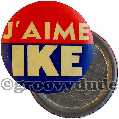 "3.5"" French J'Aime I Like Ike President Eisenhower Campaign Pin Pinback Button"