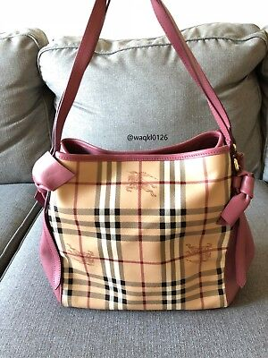 03b29b66878e NWT 100%Authentic Burberry Small Canter Horseferry leatherBowtie Check Tote  Pink
