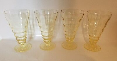 1930s DEPRESSION YELLOW CANARY VASELINE RIBBED/Optic Tea GLASS FOOTED Water