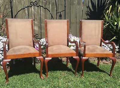 ANTIQUE DINING CHAIRS CARVER CHAIRS x 3 HIGH BACK SOLID TIMBER