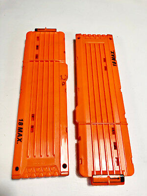 Lot of 2 Nerf 18 Round Dart Gun Orange Ammo Clip Magazine