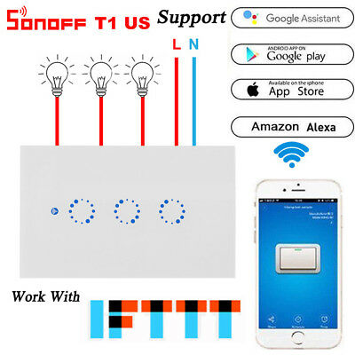Sonoff T1 US 3 Gang Smart WiFi 315MHz RF Panel Touch Switch APP Remote Timer OB1